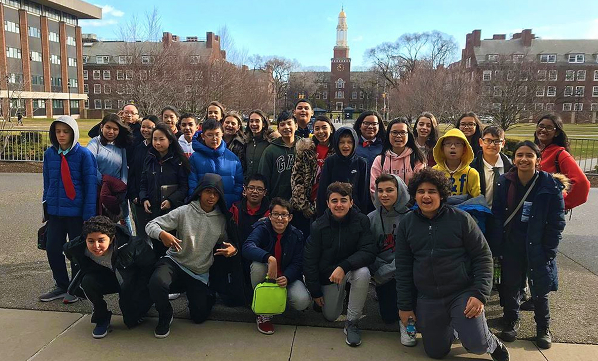 Class 703 poses on their class trip at Brooklyn College