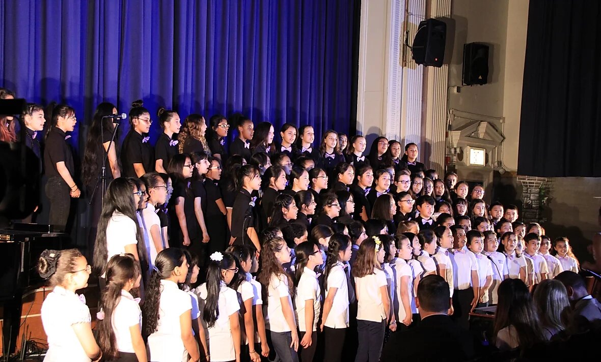School choir performing at concert