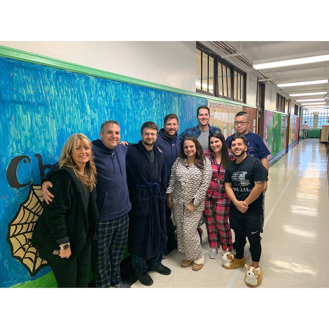 Teachers dressed in their pajamas for Pajama Day